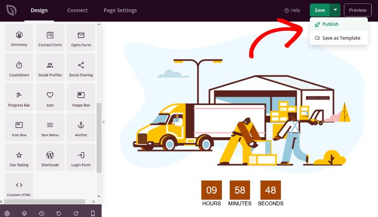 publish the maintenance mode page