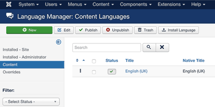 Joomla language manager