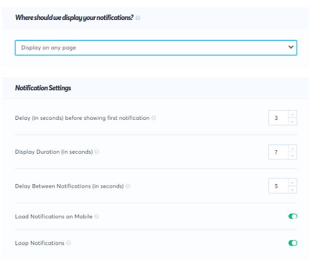 notification setting rules, trustpulse rules