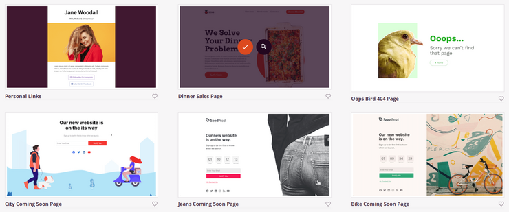 choose a landing page template