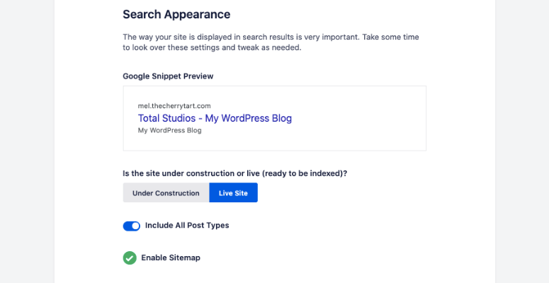 Search appearance aioseo wizard