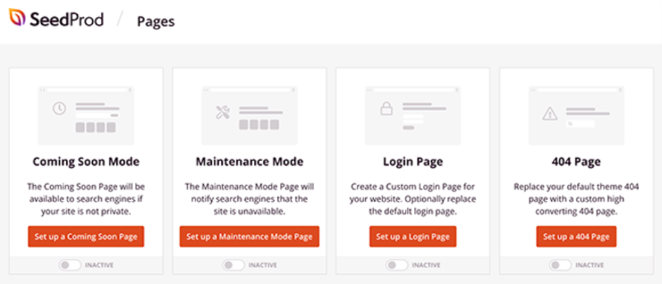 pages on the seedprod dashboard