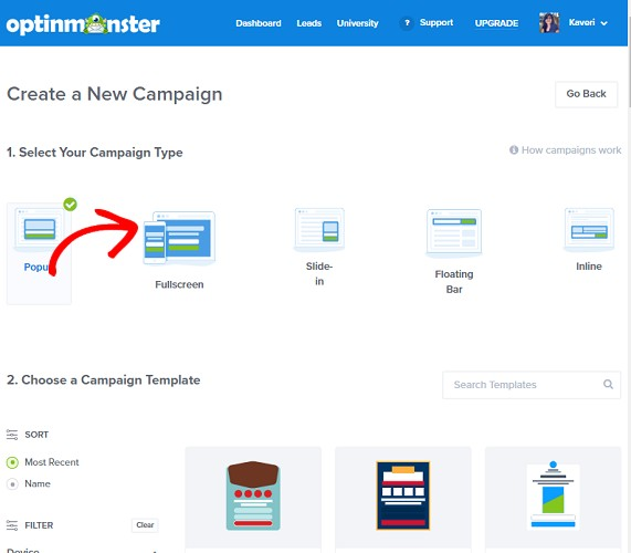 Campaign type and template optinmonster