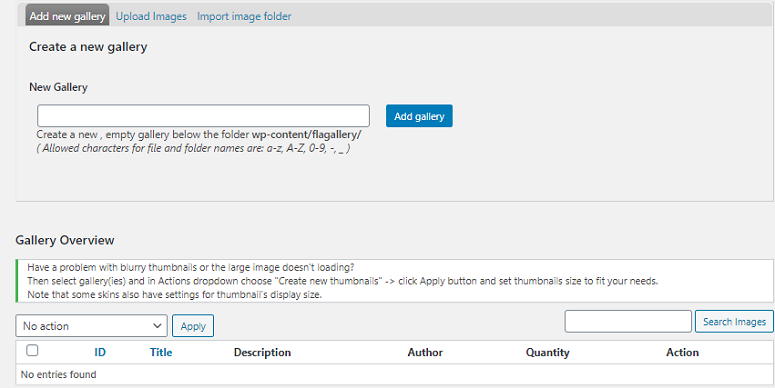 FlAG Manage gallery, image gallery plugins
