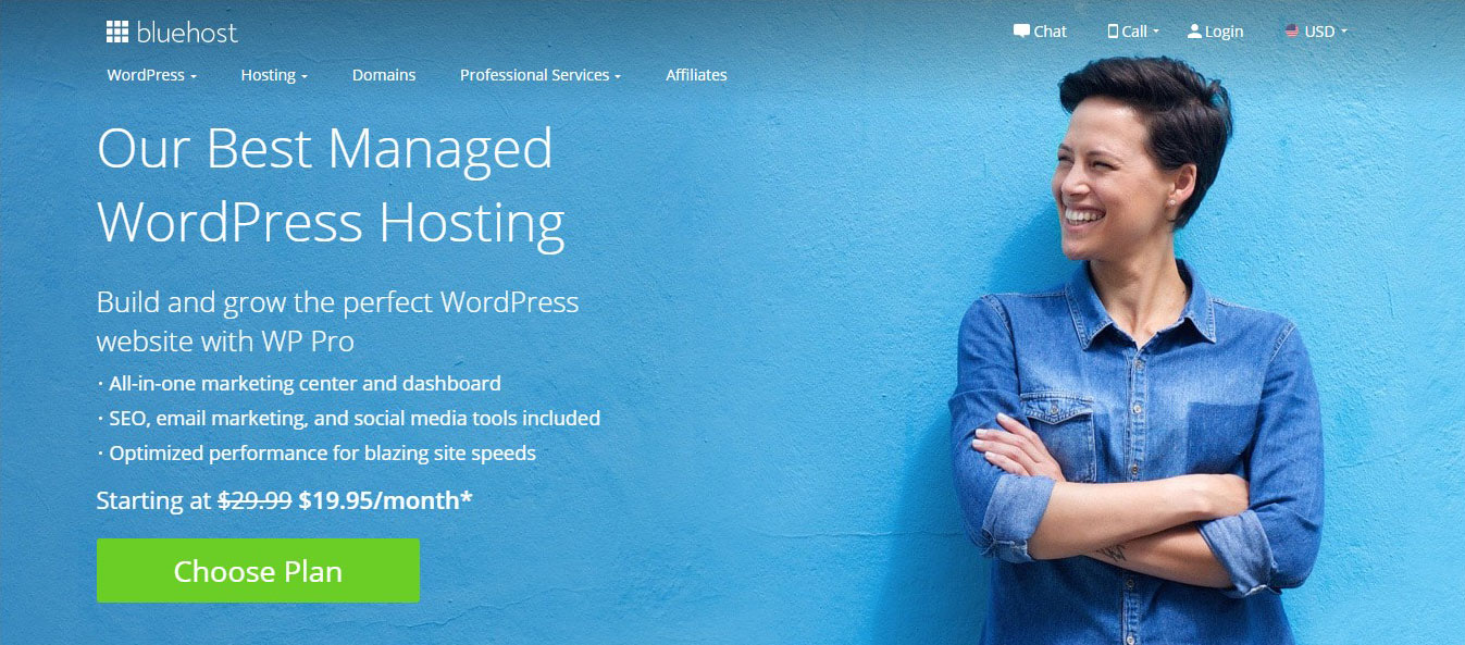 Bluehost coupon for Managed WordPress Hosting