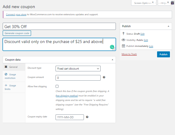Add coupon to WoCommerce site