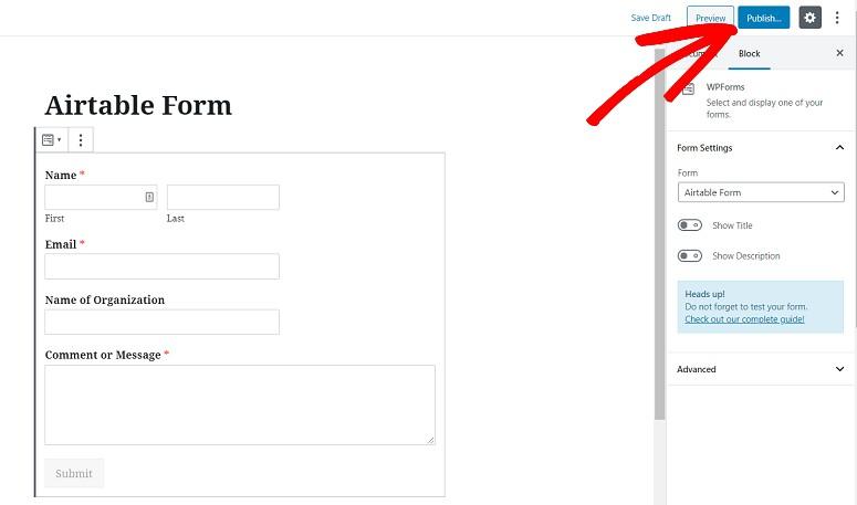 Publish form, WPForm