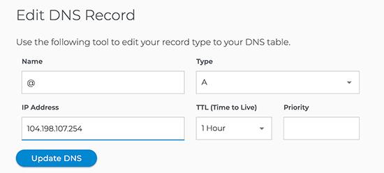 WPEngine update DNS