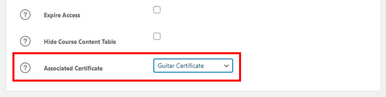 Associated certificate