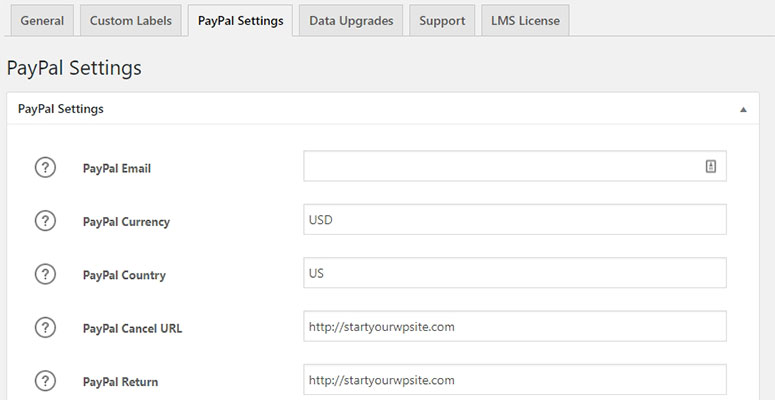 LMS PayPal Settings