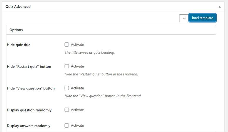 Quiz Advance settings