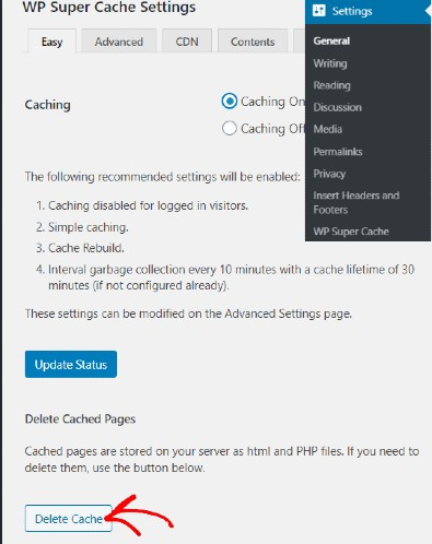 Clear cache in WP Super Cache
