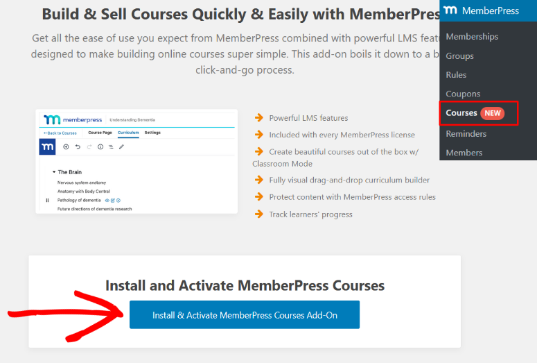 activate memberpress courses addon