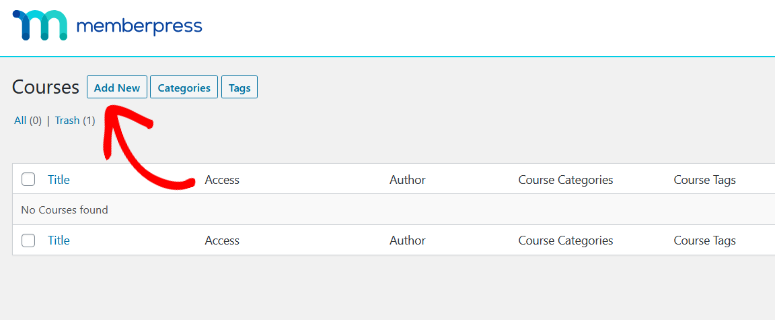 click the add new button to create a course