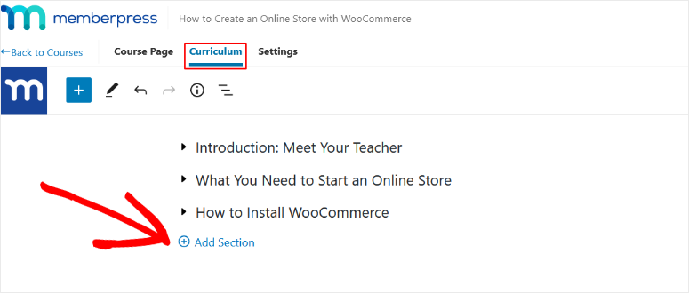 add sections to course curriculum memberpress