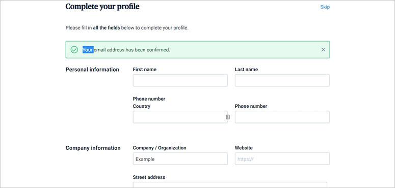 Complete profile on SendinBlue