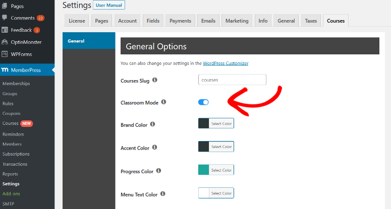 turn classroom mode on and customize your course