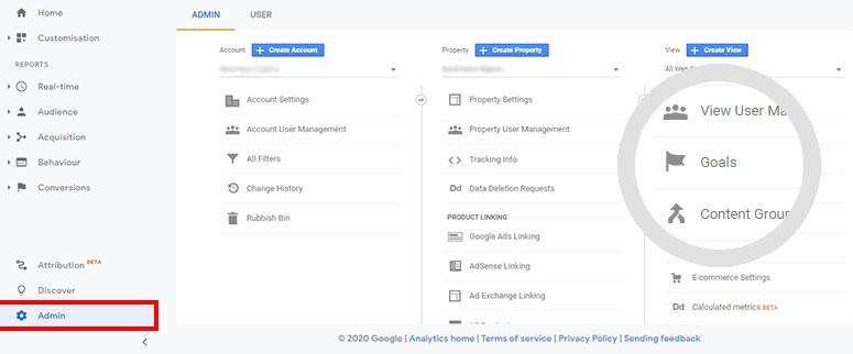 Google Analytics admin goals