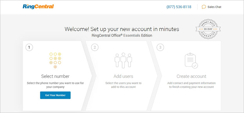RingCentral create account
