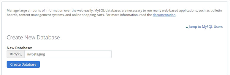 Create database manually