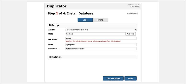 Duplicator Install Database
