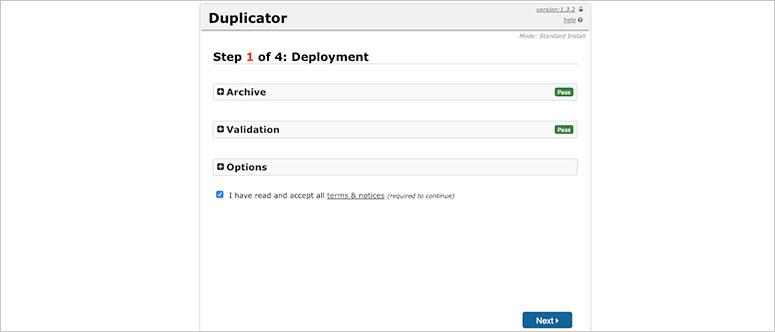 Duplicator settings