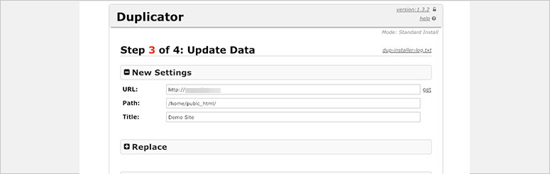 Duplicator Update Database
