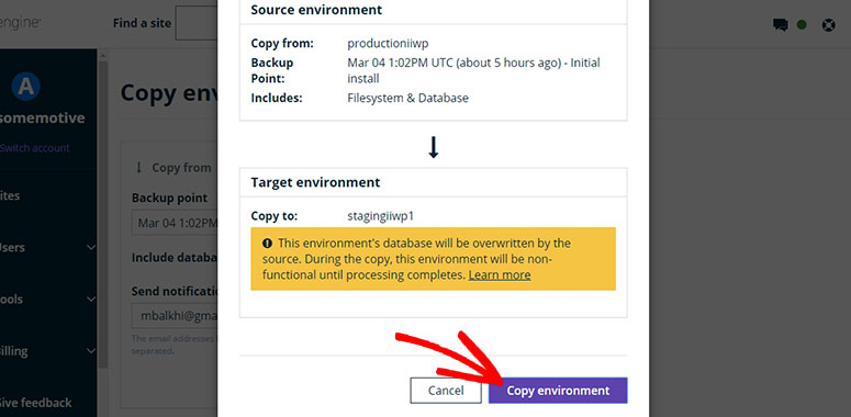 WP Engine Copy Environment