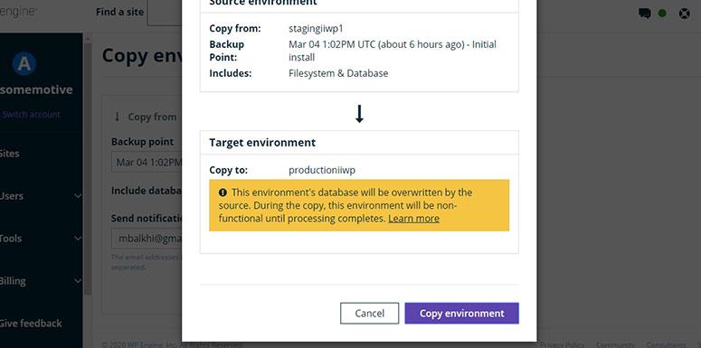 WP Engine Confirm Copy Environment