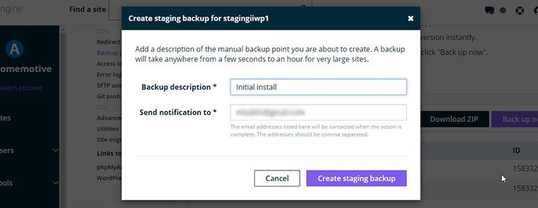 WP Engine Staging Backup