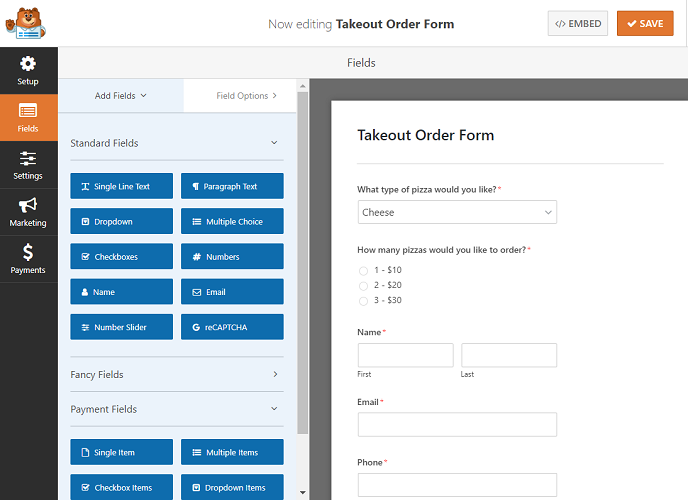Takeout form, WPForms