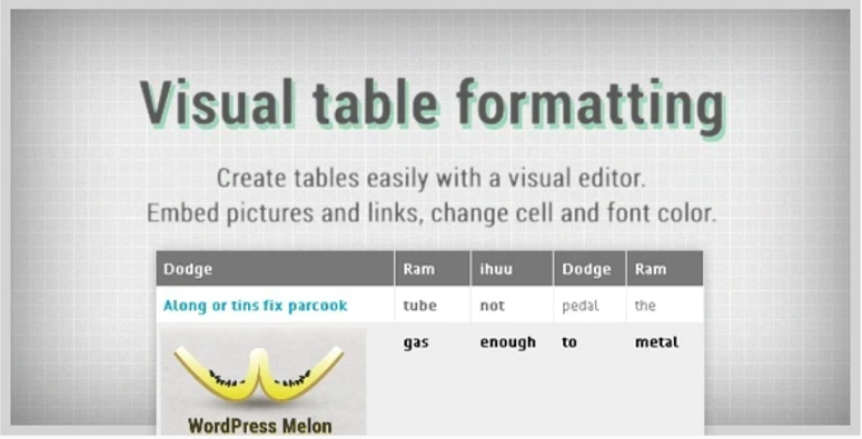 visual table formatting plugin