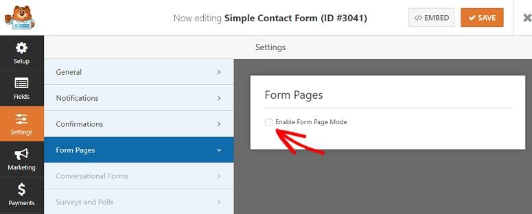 WPForms Builder form pagesaddon