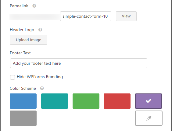 WPForms Builder templates pack addon settings, google forms styled form