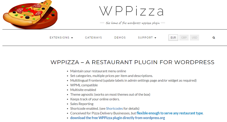 v, restaurant menu plugins