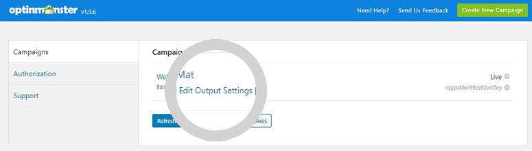 Edit Output Settings