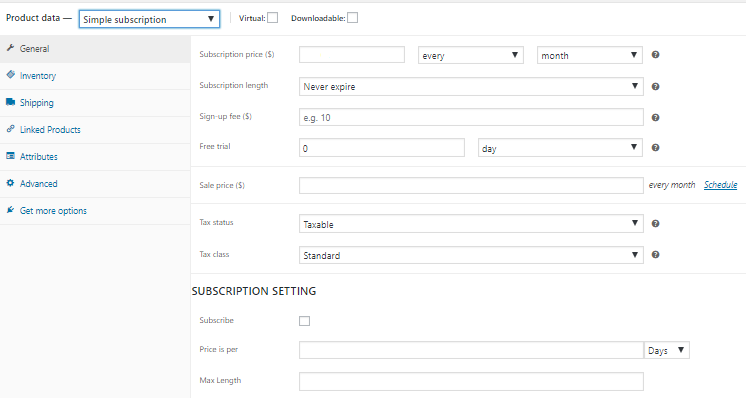 Subscription settings, woocommerce for subscription