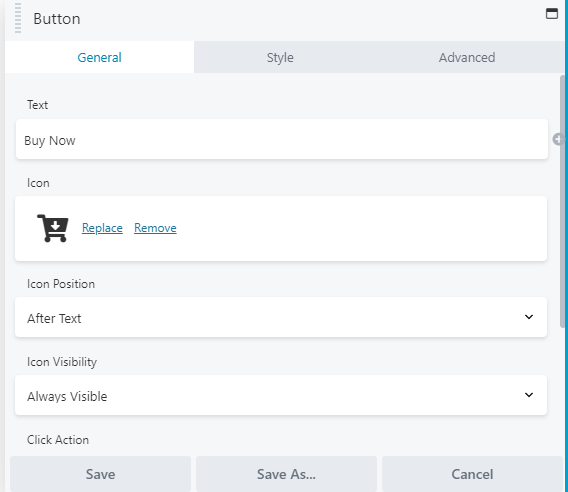 WordPress Button general settings