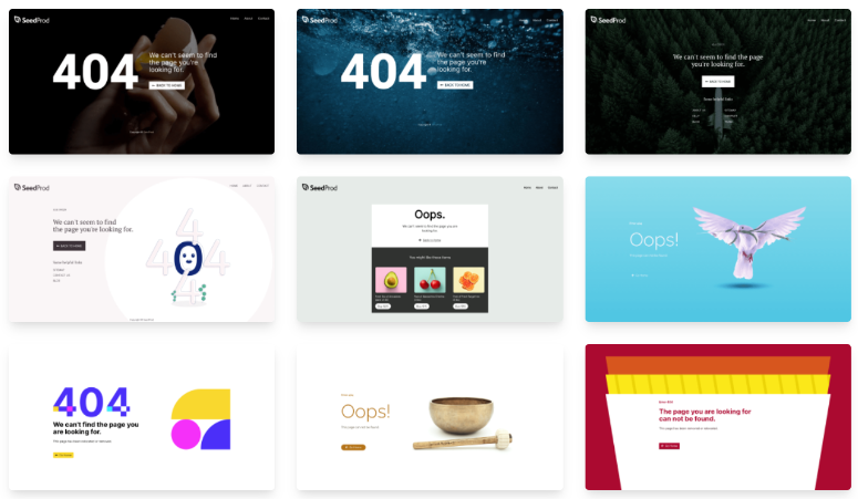 404 error page templates SeedProd