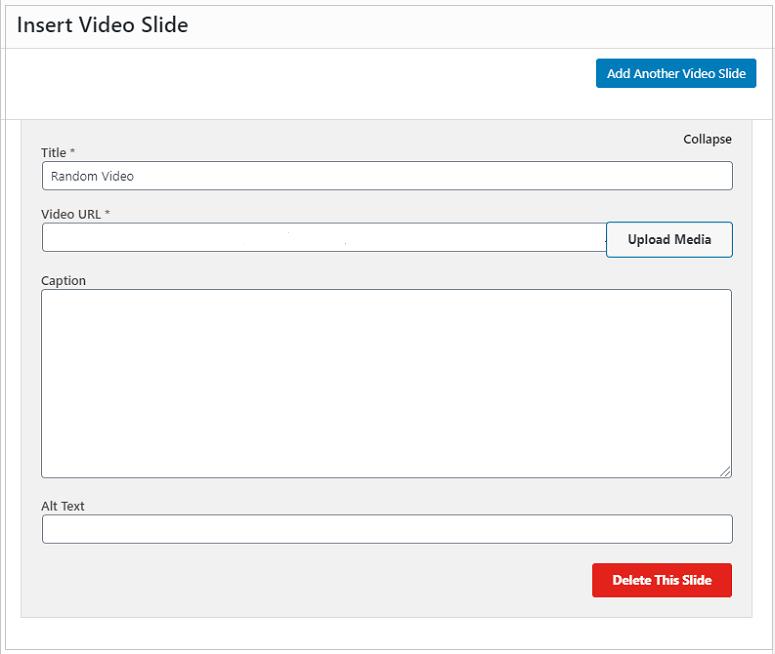 Adding video slider