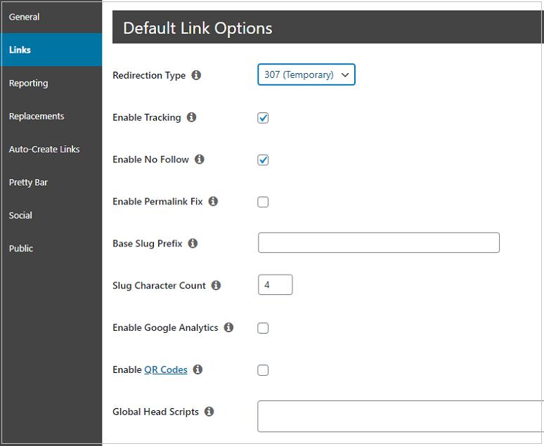 Pretty Links Pro settings links tab