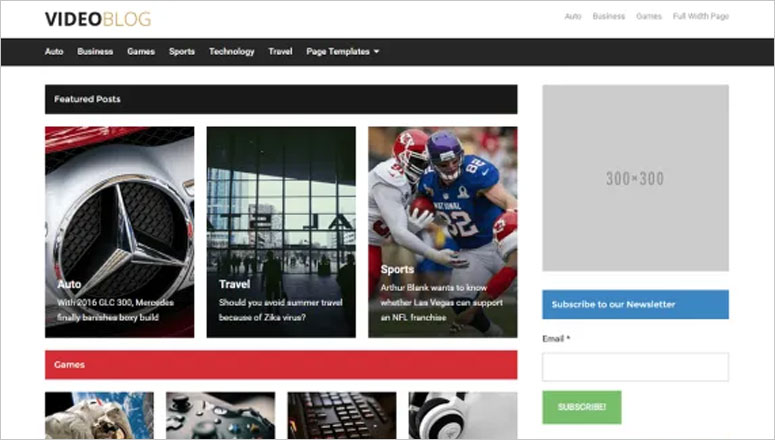 Videoblog Best WordPress Video Themes