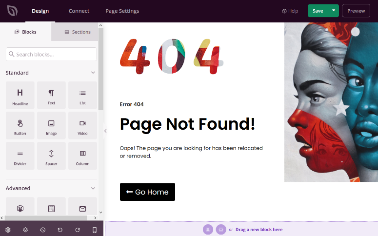 use the visual builder to customize 404 page