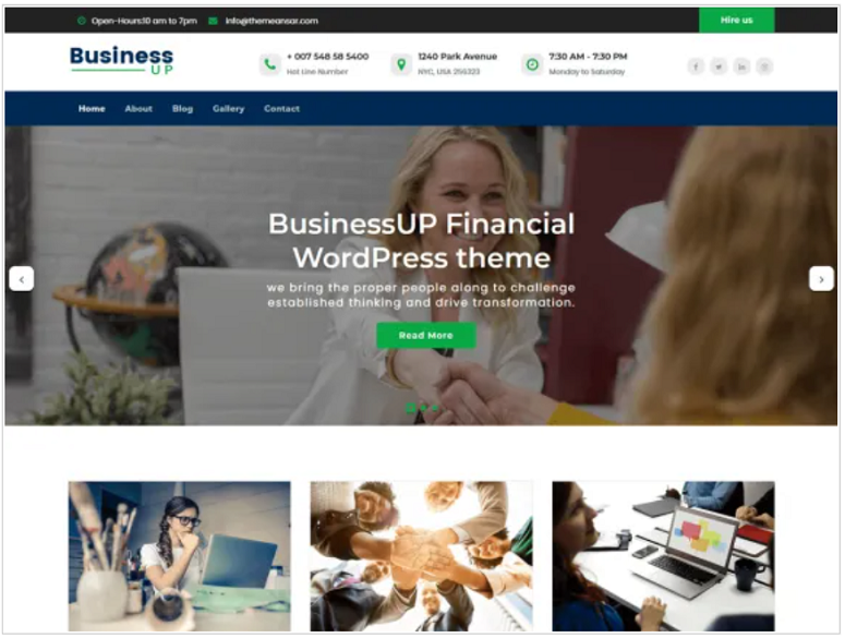 Businessup, finance theme, wp finance theme