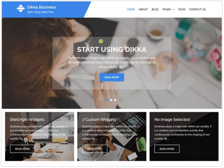 Dikka_Business_WordPress_theme, finance theme