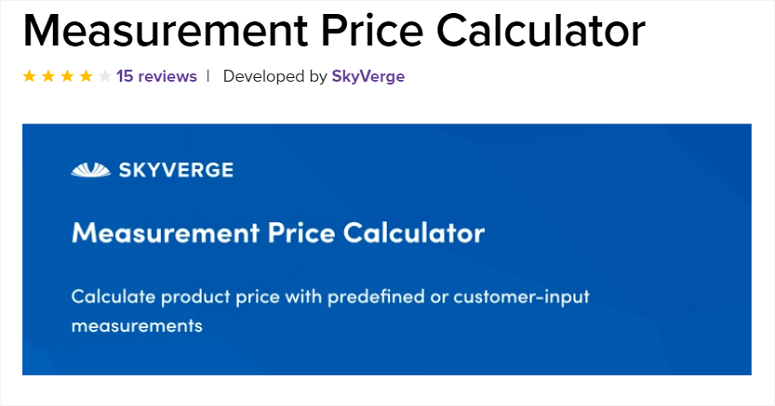 Measurement price calculator plugin.