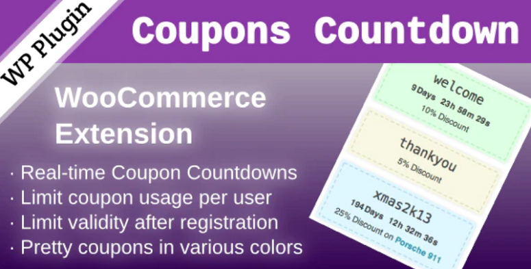 WooCommerce Coupons Countdown, countdown timer