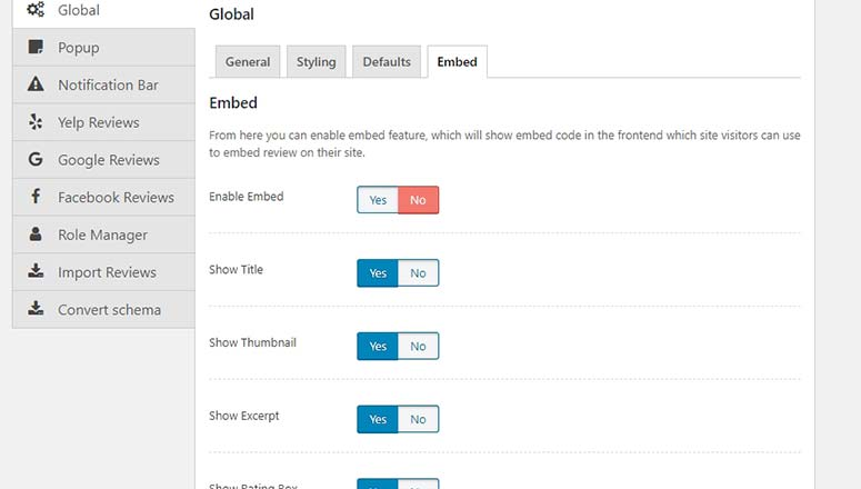 Embed Review Settings