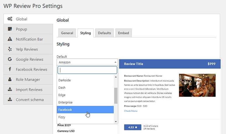 Global - Styling Review