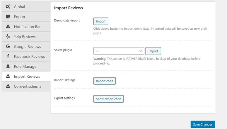 Import Reviews Setting